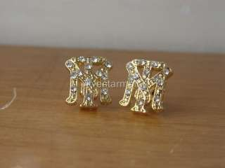 SCARFACE TONY MONTANA GOLD RHINESTONE STUD PAIR EARRING
