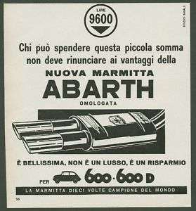 ABARTH 1963 Marmitta Tuning Cars Pubblicità Advertising