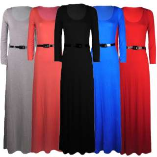 WOMENS LADIES LONG SLEEVE JERSEY BELTED MAXI DRESS SKIRT 8 COLOURS 8
