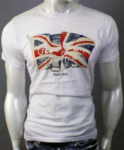 Season Men Pepe Jeans LONDON U.K Flag T Shirt Short Sleeve White chic