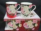 SET OF 6 Rose Garden Red 10oz FINE CHINA MUGS, GIFT BOX from Heath