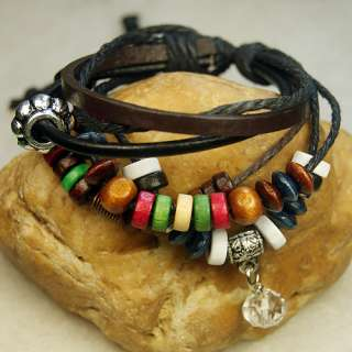 Tibetan Silver Leather hemp wood Pendant Beads Bracelet