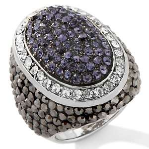 Justine Simmons Jewelry Pavé Crystal Hematite tone Butterfly Ring