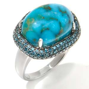 Heritage Gems Turtle Back Turquoise and Blue Diamond Sterling Silver