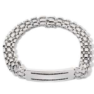 Mens Black Diamond Sterling Silver ID Bracelet