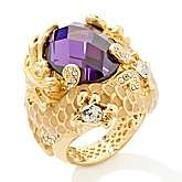 Red Lotus Royal Water Dragon Purple and Clear Crystal Goldtone Ring