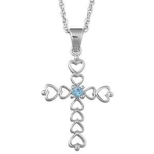 Silver Birthstone Color Crystal Openwork Heart Design Cross Pendant