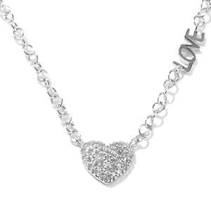 24ct Diamond Sterling Silver 18 Heart Design Love Necklace at HSN