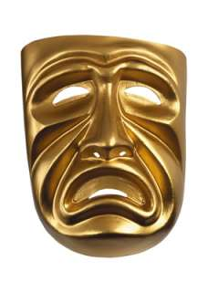 Gold Tragedy Mask for Halloween   Pure Costumes