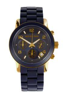Michael Kors Watches  Navy & Gold PU Wrap Chronograph Watch by