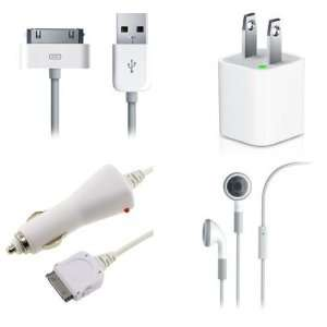 High Quality USB Cable + Wall + Car Charger + Hands Free for Apple
