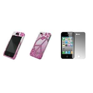 Pink and White Peace Flowers Design Snap On Cover Hard Case Cell