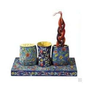 Blue Oriental Hand Painted Wooden Havdalah Set by Yair