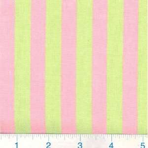 54 Wide Little Awning Stripe Pink/Lime Green Fabric By
