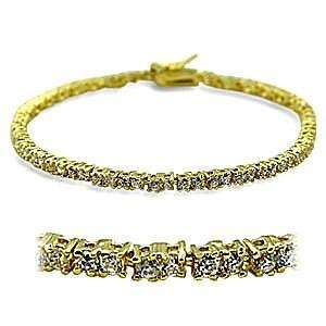 Inch Clear Cubic Zirconia Brass Gold Plated Bracelet AM Jewelry