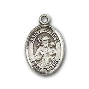 Sterling Silver Baby Child or Lapel Badge Medal with St. Joseph Charm