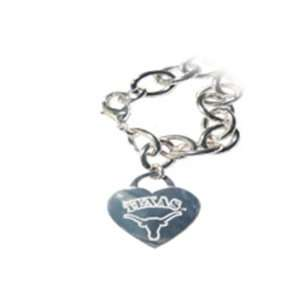 of Texas Longhorns Tiffany Style Heart Tag Bracelet