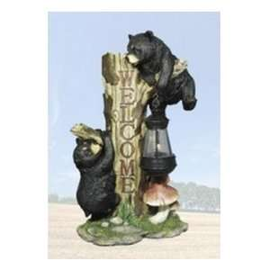 Black Bear Welcome Statue   Bear Decor: Patio, Lawn