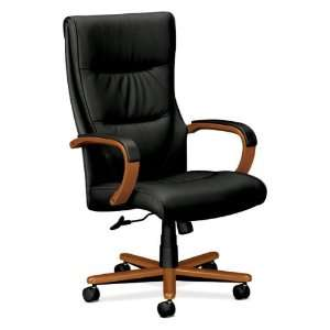 Smooth Black Leather and Wood High Back Desk Chair