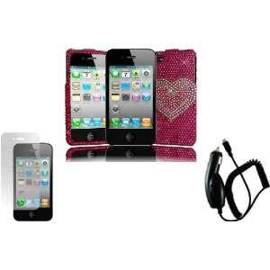 Hot Pink Heart Full Diamond Bling Case Cover+LCD Screen