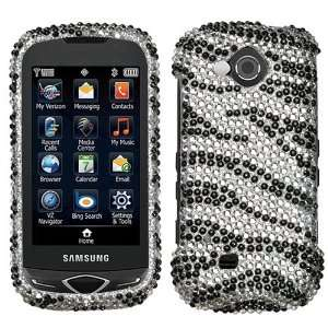Samsung Reality U820 Black Zebra Skin Full Diamond Bling Bling