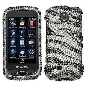 Samsung Reality U820 Black Zebra Skin Full Diamond Bling Bling