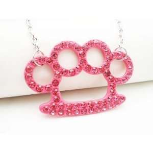 SILVER PINK CRYSTAL BRASS KNUCKLE NECKLACE Arts, Crafts & Sewing