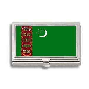 Turkmenistan Flag Business Card Holder Metal Case