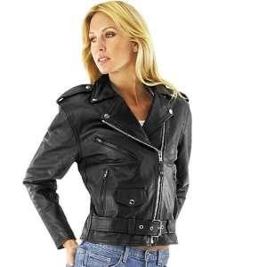 River Road Womens Basic Black Leather Motorcycle Jacket Automotive