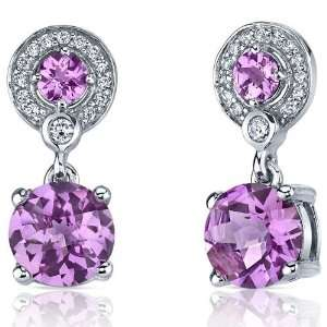 Refined Elegance 5.00 Carats Pink Sapphire Dangle Earrings in Sterling