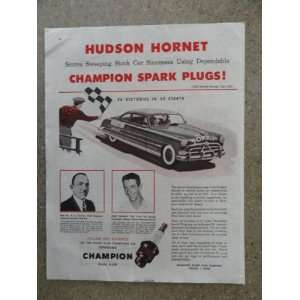 1952 Hudson Hornet/Champion spark plugs, Vintage 50s full page print