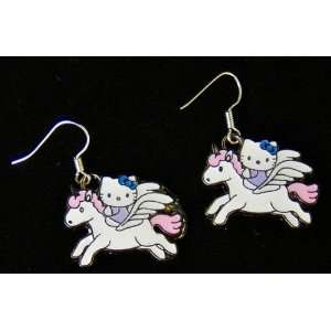 Flying Kitty Angel on Unicorn enamel charm earrings .925
