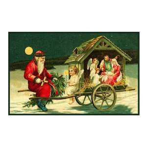 Victorian Father Christmas Santa with a Manger Arts, Crafts & Sewing