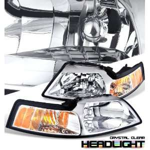 1999 2004 Ford Mustang Chrome/Amber Headlight Performance Automotive