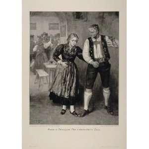 1912 Country Dance Dancing Woman Man Defregger Print   Original Print