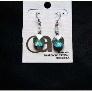 Swarovski Round Ab Crystal Drop Dangle Earrings Made in USA Jewelry