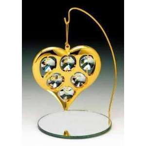 Heart 24k Gold Plated Crystal Ornament w Mirror Stand