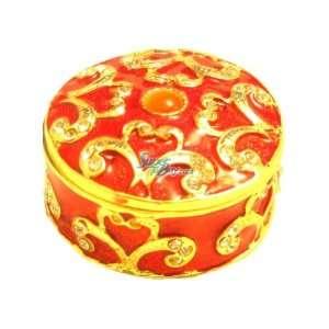 Round Box   Jewelry Trinket Box Swarovski Crystal (JF8048
