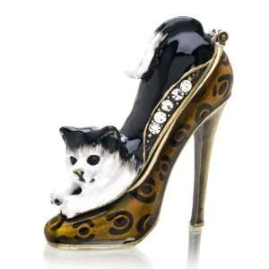 Cat in Shoe Crystal Studded Pewter Jewelry Trinket Box