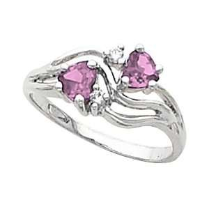 14K White Gold Heart Cut Pink Sapphire and Diamond Ring Jewelry