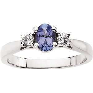 14 Karat White Gold Oval Tanzanite & Diamond Ring Diamond
