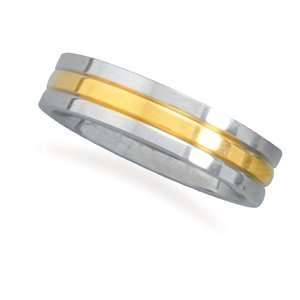 Row Ring With Polished Edges 14 Karat Gold Plated Center   Size 11