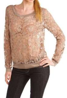 Juniors Long Sleeve Embroidery Lace Top Blouse Dress Shirt Clothing