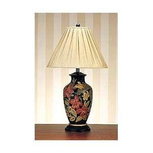 Hand Painted Porcelain Flower Design Table Lamp (Black) (31.5H x 18W