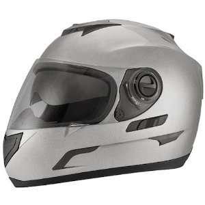 Metallic Silver Dual Visor Full Face DOT Motorcycle Helmet [2X Large