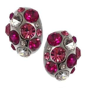 Cluster Silver Fuchsia Pink Crystal Clip On Earrings Jewelry