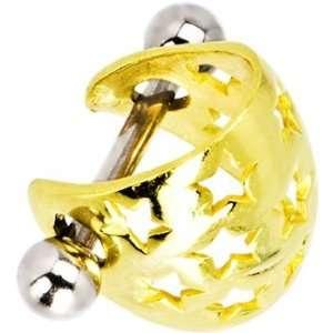 Silver 925 Gold Plated Hollow Star Pierced Ear Cuff Jewelry