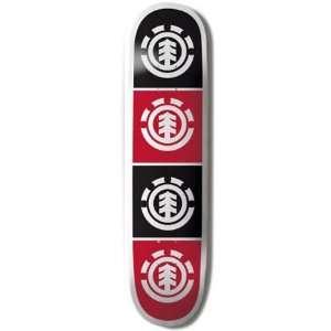 Element Skateboards RED / BLACK QUADRANT Skateboard Deck 7.75