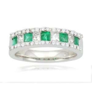 14k White Gold Classic Emerald Diamond Ring (3/5 cttw, I J