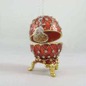 Silver Necklace Set with Gold Swarovski Crystals in a Red Faberge Egg